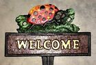 LADYBUG WELCOME SIGN Garden Yard Planter Stake Outdoor Home Decor cast iron