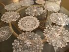 Antique lot of 12 handmade doilies 8 hairpin lace 4 other beauties.