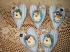 5 Snowmen appliqued Blue Ticking fabric hearts Bowl Fillers Christmas Home Decor