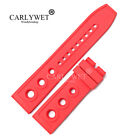 22mm Red Rubber Watch Band For Omega Bre Super Ocean 1884 Diver Tudor Pam Tag