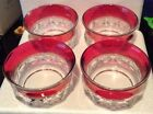 KINGS CROWN THUMBPRINT VINTAGE INDIANA RED RUBY FINGER/FRUIT BOWL SET OF 4 RARE