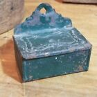 HTF PRIMITIVE ANTIQUE 19TH C TIN MATCH SAFE WITH OLD GREEN PAINT OLD LIGHTING