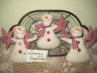 3 Handmade fabric Country Christmas Snowmen with stars Wreath making Home Decor
