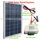25W Solar Panel System Kit 25W Solar Panel W Battery Clips Controller 12V Home