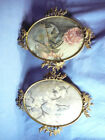 1 Pair of Antique Victorian Brass Metal Ornate Oval Frame , Convex Glass