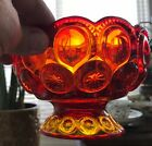 Vintage LE Smith Amberina Glass Moon and Stars Compote