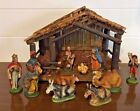 11pc Vintage Italian Christmas Nativity Scene W Wooden Stable Manger