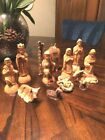Vintage 12pc Wood Nativity Set Christmas Holiday Baby Jesus CamelWisemen