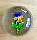 Antique Saint Louis Art Glass Paperweight Pansy in Blue  Yellow