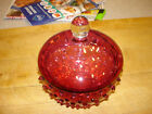 Old Vintage Bohemian Czech Republic Cranberry covered dish Never Used A1