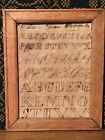 Antique Primitive Folk Art Alphabet Penmanship Sampler In Old Wood Frame AAFA