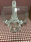 Vintage 8 pc Clear Orchard Crystal Boopie Glass Snack Party Set 4 Plates 4 Cups
