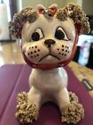 Vintage Lefton Anthropomorphic Dog W Red Polka Dot Tie Fly On Face Planter