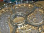 VINTAGE CLEAR FROSTED DIVIDED GLASS VEGETABLE RELISH DISH  12-3/8 WITH DESIGNS I