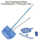 Pool Cleaning Set Brush 2 Leaf Skimmers Telescopic Pole Brush Scrubber Tools new