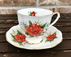 Royal Standard  English Bone China Teacup and Saucer RADIANCE Pattern Red Roses