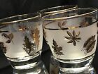 6 Libbey Mid Century Frosted Gold Leaf Rocks Cocktail Glasses Barware Vintage