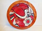 Wood Serving Bowl Hand Painted bird with flowers Red/white/brown Beautiful