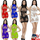 US Sexy Women Sleeveless Halter See-Through Hollow Out Mesh Short Mini Dress