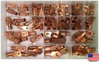 90 Large Copper Lug Battery Ring Terminals Wire Connector Assortment Kit USA
