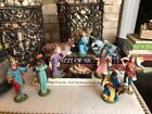 Vintage Antique Fontanini Nativity Set Spider Depose Italy 10 Pieces Halos