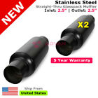 Exhaust Mufflers Pair 25in Stainless Steel Black Universal Resonator 232740