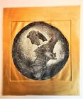 Bats Flying Etching on Rag Paper With Gold Paint Surround Anonymous 81 2