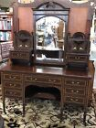 1940's Mahogany Vanity W/String Inlay and Beveled Mirror - Two Matching Chairs