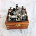 Nautical Brass Maritime Sextant 4'' With Wooden Box Marine German Collectible