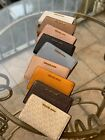 Michael Kors Leather Slim Bifold MK Wallet Photo ID Credit Card Black Brown Gold