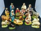Vintage Chalkware Nativity Set Hand Painted Christmas Decoration Lot of 15