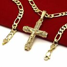 Mens 14k Gold Plated High Fashion Cross 012 Pendant 5mm 24 Inch Figaro chain