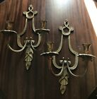 1 pr. antique brass candle holder wall sconces fixtures