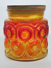 LE Smith Amberina Moon and Stars Canister Cookie Sugar Candy Jar 482B