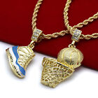 Gold Plated Retro 11 University Blue  Basketball Pendant 4mm 24 Rope Chains