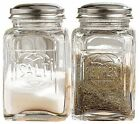 Salt And Pepper Shakers Container Clear Glass Kitchen Condiments Storage Vintage