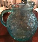Vtg Anchor Hocking Glass Pitcher Lido Milano Round Aqua Turquoise  Blue 96 Ounce