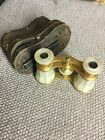 Vintage LEMAIRE FI PARIS Opera Glasses Mother of Pearl  Brass w Case