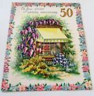 Used Vintage Anniversary Wedding Card Wisteria and Flowers by Window with Awning