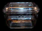 Vintage Fire King Sapphire Blue Tint Glass Square RETRO Refrigerator Dish 0173