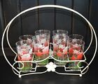 Vintage Set of 8 Federal Glass Floral  Print Glasses  With Holder