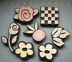 BOTANICAL  CHECKERBOARD FOAM RUBBER STAMPS Lot of 7 CHUNKY FLORAL STAMPERS