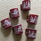 Vintage Red Hazel Atlas Milk Glass Child Mug Cup Set 6 Burgundy Indian Design