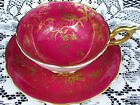 COALPORT CAIRO BIRD RED AND GOLD INSECTS FLORAL TEA CUP AND SAUCER