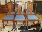 Vintage Antique Wood Dining Chairs with Upholstered (cloth) Seats-Set of Six (6)