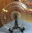 Vintage FOOTED CAKE PLATE Federal Glass Sunflower Bubble Dot 11