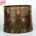 1850'S INDIAN ANTIQUE HAND CRAFTED ENGRAVED IRON GRAIN MEASUREMENT POT MANA 9158