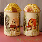 Pair Salt  Pepper Shakers Red Roof Barn Farm Silo Shaped Hay Thatched Roof Barn