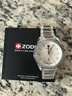 ZODIAC STAINLESS STEEL AND CRYSTALS BEZEL & BAND, MOP DIAL Z06906