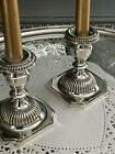 Pair of Antique English Sterling Silver Candle Sticks - Georgian Style